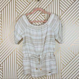 NWOT Ellen Tracy White Stripe Linen Top